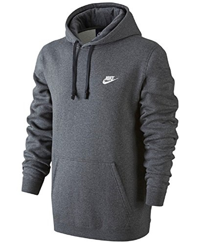 Nike Mens Sportswear Pull Over Club Hooded Sweatshirt - XXX-Large - Charcoal Heather/White