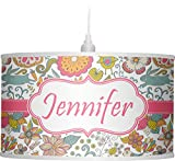 RNK Shops Wild Garden Drum Pendant Lamp Polyester (Personalized)