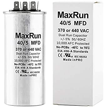 MAXRUN 40+5 MFD uf 370 or 440 Volt VAC Round Motor Dual Run Capacitor for  AC Air Conditioner Condenser - 40/5 uf MFD 440V Straight Cool or Heat Pump  -