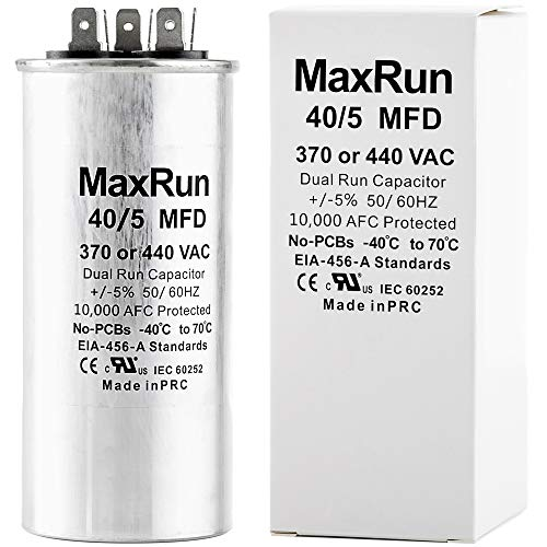 MAXRUN 40+5 MFD uf 370 or 440 Volt VAC Round Motor Dual Run Capacitor for AC Air Conditioner Condenser - 40/5 uf MFD 440V Straight Cool or Heat Pump - Will Run AC Motor and Fan - 1 Year Warranty ()
