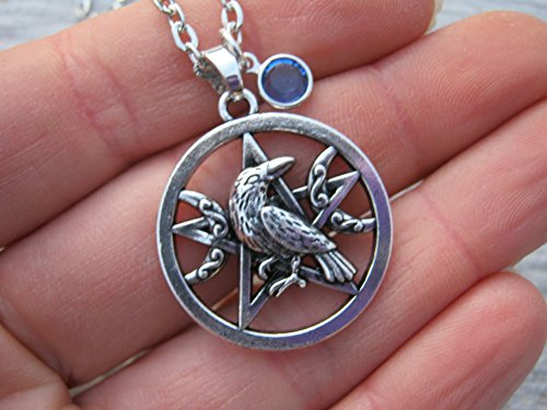 Moon Pentacle Stone (Personalized Raven Pentacle Moon Necklace, Birthstone Necklace, Wiccan Charm Pendant, Boho Jewelry)