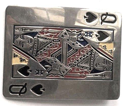 Queen Of Spades Belt Buckle Playing Card Silver-tone Chrome Casino Gambling Women Men - Queen Buckles