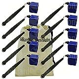 Set of 10 Blue Pocket Chalk Holders with Billiard Evolution Drawstring Bag