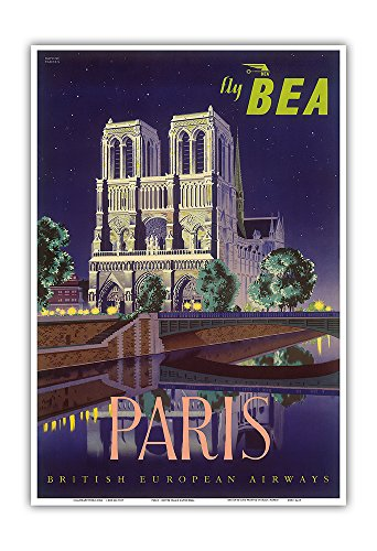 Paris - Notre Dame Cathedral by Moonlight - Fly BEA (British European Airways) - Vintage Airline Travel Poster by Daphne Padden c.1950s - Master Art Print - 13in x 19in