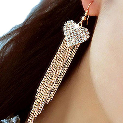 Bolayu Women Lady Fashion Elegant Crystal Rhinestone Ear Stud Earrings (Gold Elegant Double Ring Bracelet)