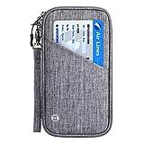 Vemingo Family Passport Holder with Accordion Design RFID - Blocking Travel Wallet Ticket Holder Document Organizer with Zipper for Women & Men, Fits 4 Passports (Grey, Large)