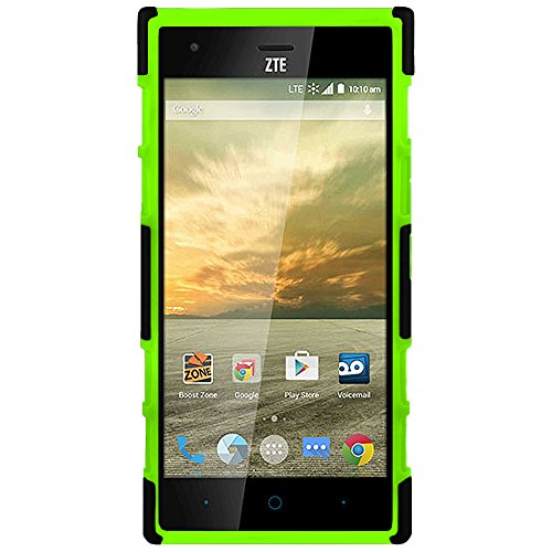 ZTE Warp Elite Case (N9518) Guardian Holster Combo Case with Belt Clip and Kickstand - Green by ElBolt TM with Free HD Screen Protector Photo #7