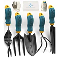 Gardening Tools Set from Alloy Steel – Heavy Duty Garden Tool Set with Rubber Non-Slip Handle – Gardening Kit with  Gloves and Bag – Ergonomic Garden Hand Tools – Gardening Gifts for Men and Women