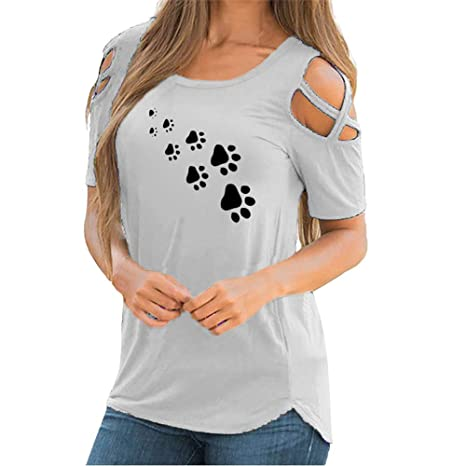 Mujer camiseta de verano manga corta Top Casual Shirt Blouse ...