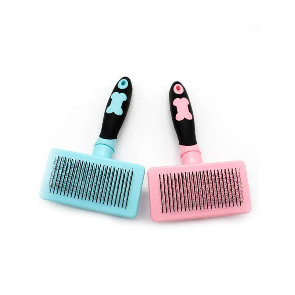Samuknight Pet Brush, Needle Comb Pet Automatic Hair Removal Comb, Needle Comb Suitable for All Kinds of Pet Dog Cat Cleaning Brush, Pink and Blue Optional Pet Grooming Tools by Samuknight