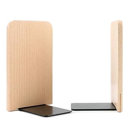 Sujetalibros de madera antideslizante Heavy Metal duradero resistente fuerte libros organizador soporte para libros estantería de