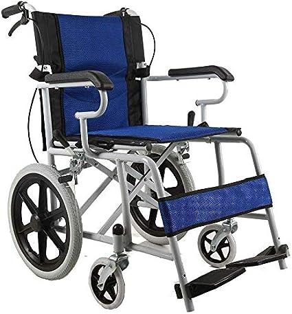 CHAIR Silla de ruedas, silla de rehabilitación médica para personas mayores, personas mayores, silla de ruedas de transporte Lite, marco liviano y plegable, silla de ruedas propulsada por asistente,