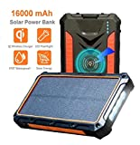 Solar Power Bank, Qi Wireless Portable Charger, Real 16,000mAh External Battery Pack , 4 in 1, Dual usb output + Type C output + Wireless Charger, With Powerful LED Light (Waterproof, Shockproof)