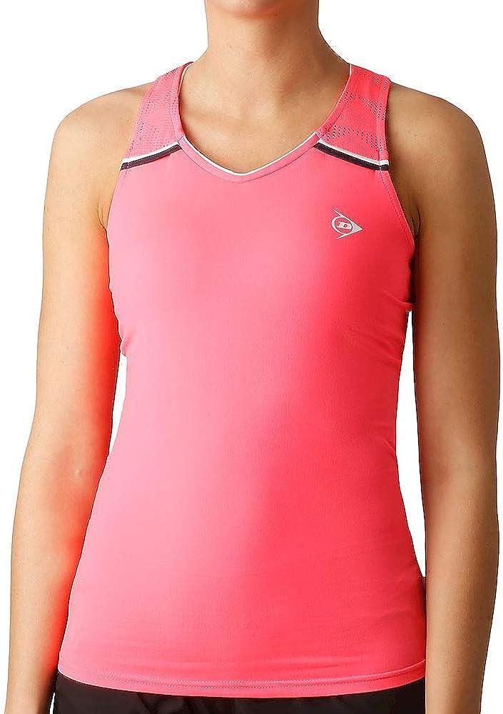Dunlop Camiseta de Tirantes para Mujer, Color Rosa, Azul Oscuro, XS
