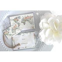 Janine Lea Swan designs 50 World Map Luggage Tag Favors Ivory $1.25 ea.