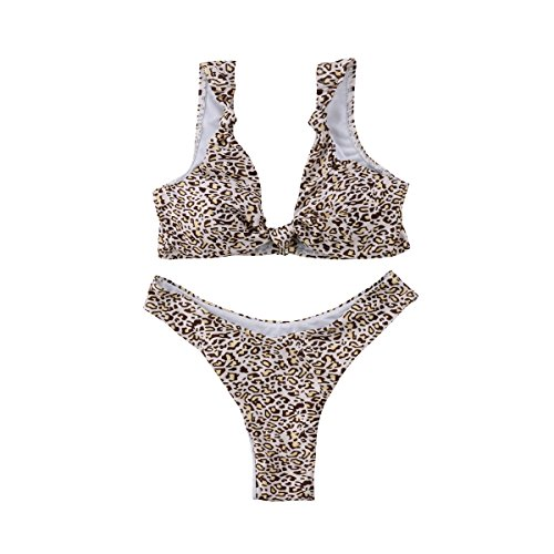 RUEWEY Womens Tie Knot Front High Waist Thong Printed Bandage 2PCS Bikini Sets Beachwear (M, Leopard Print)