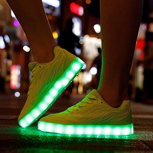 Hi-Top LED Zapatos 7 Colores que Cambian con el Brillo de USB Recargables -Niño/Adulto(rosa / blanco / negro / rojo) malla-blanco