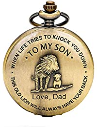 Vintage Quartz Pocket Smooth Classic Fob Watch Arabic Numerals Scale Watch with Chain for Xmas Fathers Birthday Anniversary Day Gift (Lion)
