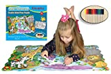 Kids Puzzle With Washable Markers, Arts and Craft Activity (50 pieces), Safari Fun, Large Floor Puzzle Jigsaw (2x3 Feet), For Boys Girls Toddlers, Best Toy Gift Kids Ages 3yr – 8yr, 3 Years and Up