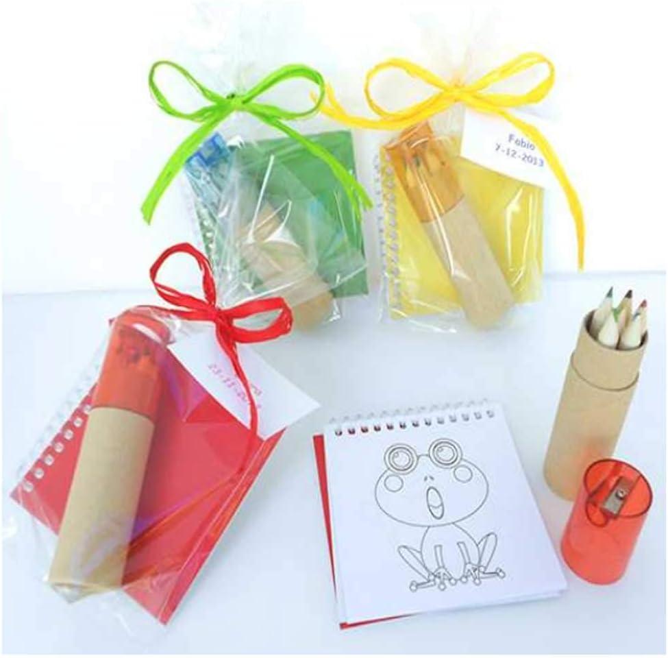 Libreta con Plantillas para Colorear + 6 lápices de Colores y sacapuntas. Lote de 10 Unidades. Se Entrega en Bolsa celofán con Lazo y Tarjeta Personalizada.Regalos cumpleaños Infantiles