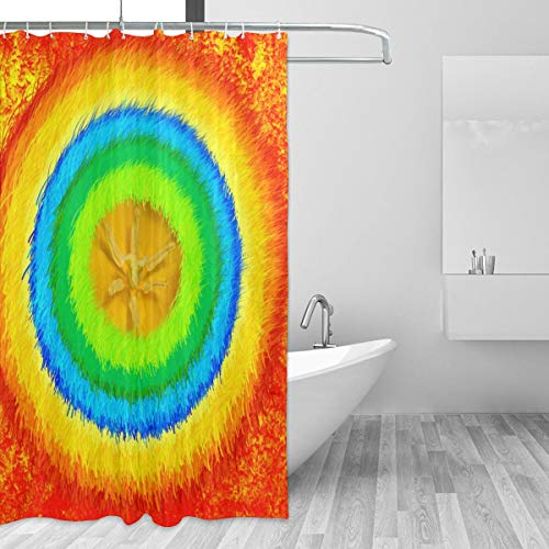 72 by 72 Cool Bathroom Window Curtains for Home Decor, Washable Durable No Smell Bedroom Shower Drapes - Coloured Rainbow Circle Mandala Floral Orange Tie Dye