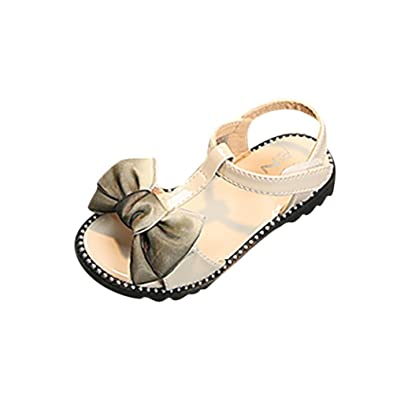 Vincent&July Baby Shoes Toddler Girls Summer Sandals Bowknot Non-Slip Princess Casual Shoes Beige/Pink/Black 4-9T