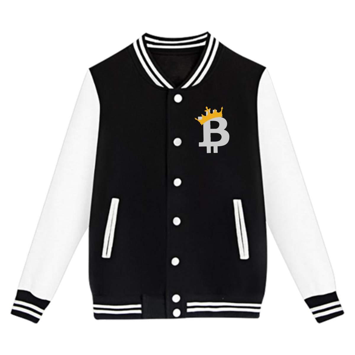 Bitcoin King Teens Boys Girl Varsity Baseball Jacket Long Sleeve Sport Baseball Uniform Jacket Coat Sweater Black