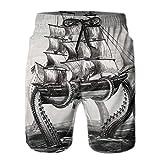 confirm vt Octopus Ship Men's/Boys Casual Swim Trunks Short Elastic Waist Beach Pants with Pockets
