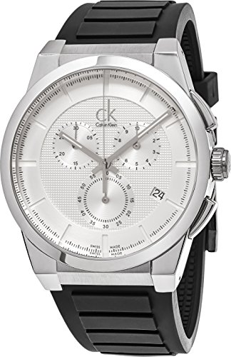 Calvin Klein Swiss Made Luxury Mens Chronograph Watch Stainless Steel - 45mm Analog Quartz Silver Face with Date and Sapphire Crystal - Black rubber Band Dress Chronograph Watches For Men K2S371D6