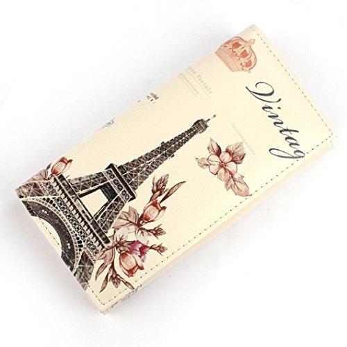 DZT1968(TM) Women Long PU Leather Paris Scenic Design Button Purse Bag Card Holder Wallet Gift (Eiffel Tower)
