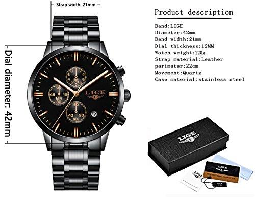 Amazon.com: Watches Mens Analog Stainless Steel Sport Waterproof Quartz-Watch Men LIGE Luxury Business Dress Chronograph Man Black Clock: Watches