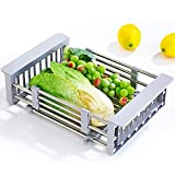 PM-Shelf Drain Basket Stainless Steel Retractable Dishes Shelves Kitchen Supplies