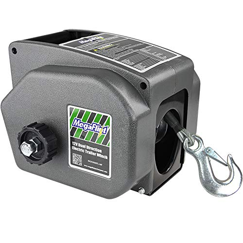 (Megaflint Trailer Winch,Reversible Electric Winch, for Boats up to 6000 lbs.12V DC,Power-in, Power-Out, and Freewheel Operations,30% Higher winching Power Than Regular 6000 lbs Winch (5000lbs Marine))