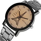 Mens Watches,Fashion Casual Quartz Watch with Comfortable Stainless Steel Band-Roman Numeral Luxury Watch for Men (Coffee)