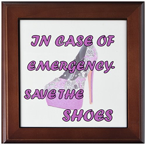 (3dRose ft_214133_1 in Case of Emergency Save Shoes Popular Saying Framed Tile, 8 by 8