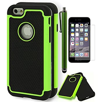 "outlet iPhone 6 Case, Bastex Hybrid Deluxe Green and Black Rugged Shock Armor Case for Apple iPhone 6, 4.7"" 6th GenerationINCLUDES A STYLUS"