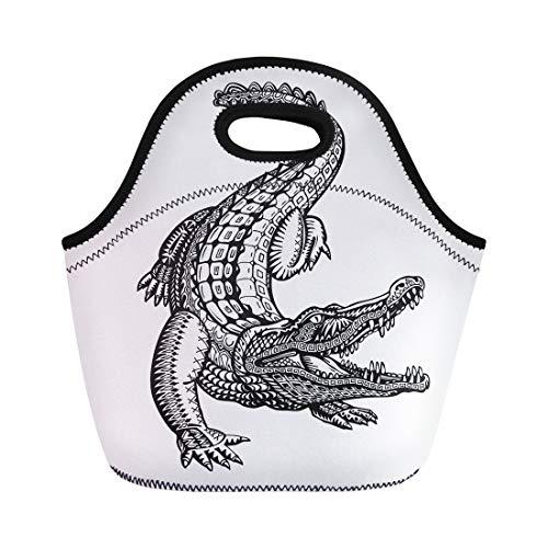 Semtomn Neoprene Lunch Tote Bag Tattoo Crocodile Alligator Animal Tribal Ethnic Drawn Hand Jungle Reusable Cooler Bags Insulated Thermal Picnic Handbag for Travel,School,Outdoors,Work -