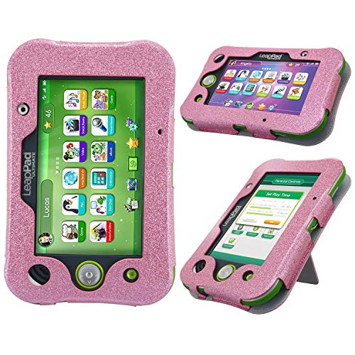 HOTCOOL LeapPad Ultimate Case New PU Leather with Kickstand Cover Case for Leapfrog LeapPad Ultimate Kids Tablet, Glitter Pink