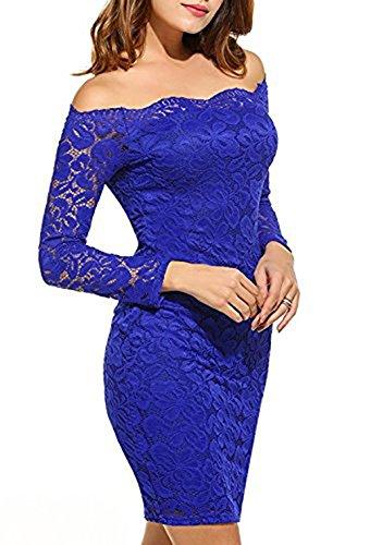 Bodycon Cóctel Encaje Lápiz Larga Azul de Manga Vestido de Hombros Fiesta Mujer Vestidos sin 7pAqPTP