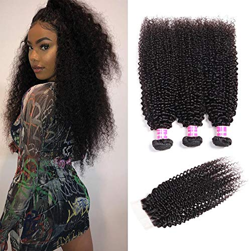 Sunber Hair Brazilian Virgin Curly Hair with Lace Closure Bleached Knots (18 20 22+14free Part Lace Closure)