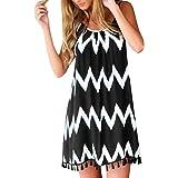 BODOAO Women Sexy Wave Pattern Tassel Strap Sleeveless Holiday Dress