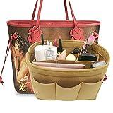LEXSION Felt Handbag Organizer,Insert purse organizer Fits Speedy Neverfull Light Brown M