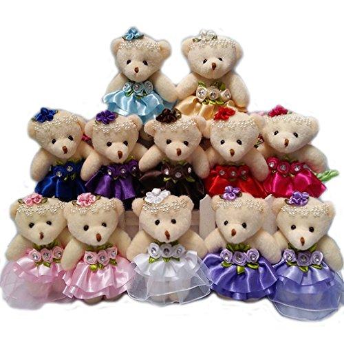 ZhinderLand Wholesale Plush Teddy Bear 12cm Stuffed Bear Flower Girl Wedding Gift Flower Bouquet Materials Random Assorted Bears (10 -
