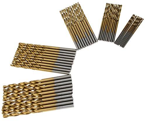 50Stk. Bohrer Set Titanium HSS Metallbohrer Spiralbohrer 1mm 1.5mm 2mm 2.5mm 3mm