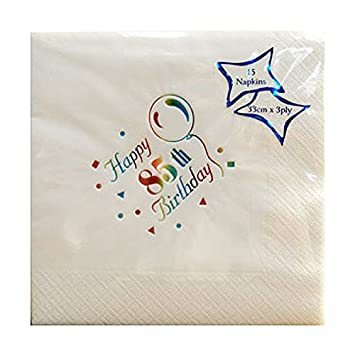 Npk 15 85Th Birthday Foil Printed Napkins Party Table Serviette Decoration White