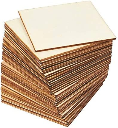 Unfinished Blank Wood Squares Cut out Craft Embellishment with Hole