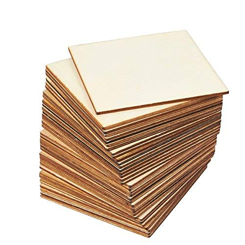 Juvale 36-Pack Unfinished Wood Square Tile Cutout Pieces for DIY -
