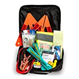 Automotive : Always Prepared Emergency Road Assistance Kit (62 Pieces) All-In-One Solution: Includes 8-Gauge Jumper Cables, Self-Powered LED Flashlight, Emergency Triangles, First Aid Kit, Light Sticks And More