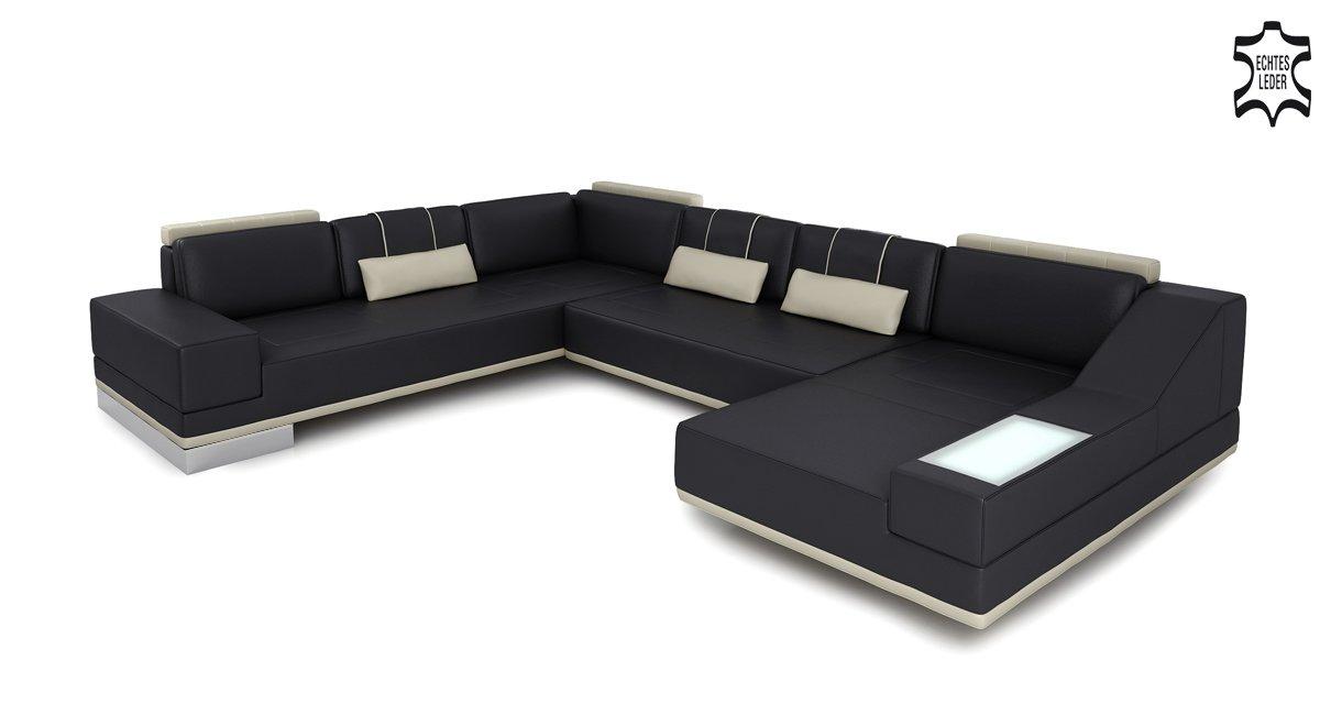 Leder Wohnlandschaft Xxl Sofa Couch Ecksofa Modern Ledersofa