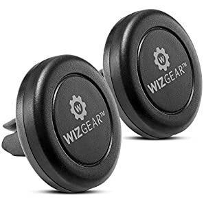 Magnetic Mount, WizGear [2 Pack] Universal Air Vent Magnetic Car Mount Phone Holder Cell Phones Mini Tablets Fast Swift-Snap Technology 4 Metal Plates
